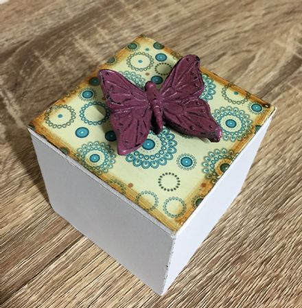 Square Distressed Wooden Trinket Box Purple Butterfly